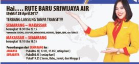 Rute Baru Sriwijaya Air dari Semarang ke Makassar
